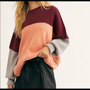NWT Free People Easy Street Color Block Sweater